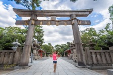 I will start my Japan trip photos with a typical Japanese scene. My muse was kind enough to pose at the gate to demonstrate the size and beauty of this Shrine. Osaka, Japan.
