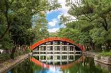 Beautiful nature surrounding a bridge reflected in the water canal. The color contrast between bridge-nature-sky is my favorite here. Also it's a bit of a minimalist portrait since I placed my model there (thought it would look good). All this in the amazing little park and Temple Sumiyoshi Taisha, Osaka, Japan.