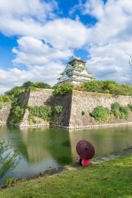 Looking at this magnificent castle from accross the water is rewarding. Osaka, Japan.