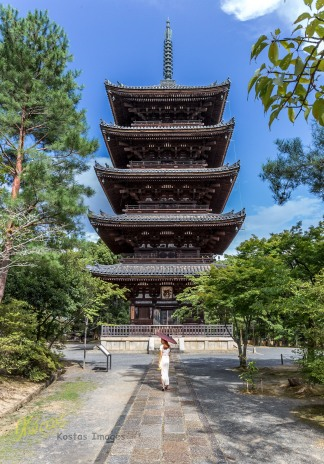 Very Big Wooden Pagoda, in Ninnaji Temple in Kyoto. Many thanks to my muse for posing in order to demonstrate the size of the building.
