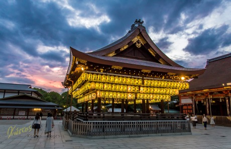 Famous for it's lanterns, this shrine is even more impressive with a dynamic sunset sky. Kyoto, Japan