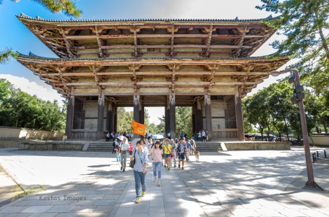 This is the Nandai-mon Gate (東大寺南大門) on the way to the Todai-Ji Temple, with the Huge Buddha Statue. I took this photo while walking, as I saw this very interesting view of the tourists surrounded by the gate and the nature. Nara park, Japan.