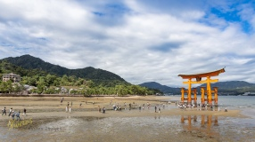 When the tide is low, thousands of tourists gather and approach the famous shrine. I took the photo from far to show the huge size of the gate (torii). Miyajima Island, Hiroshima, Japan