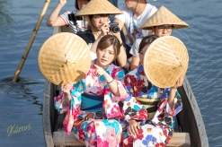 Closer look at the traditional boat ride in Kurashiki town. Japan.