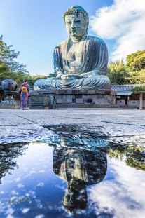 I visited this location to take a nice picture of the huge statue, I took the opportunity to have a great reflection from an earlier rain water pond. Kamakura, Japan.