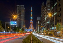 Classic shot of the Tokyo Tower combined with the traffic lights from the Sakurada Dori Avenue. Tokyo, Japan.