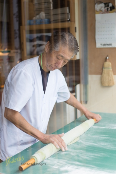 My camera didn't break his concentration. Chef making Greek Tea Noodles, Uji, Japan.