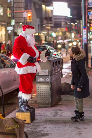 Santa came to town. Dundas square, Toronto.