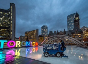 Getting the Rink ready! An Ice Surfacer working early in the morning at Nathan Phillips Square.