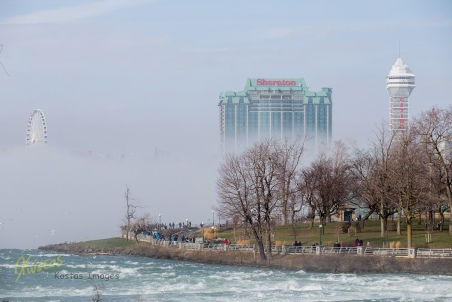 Niagara Skywheel, Sheraton Hotel, and Casino in the fog as seen from the American side...
