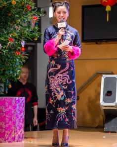 Traditionally dressed presenter during CNY celebration at Splendid Mall, Markham, Toronto