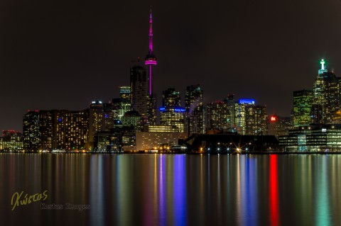 Long exposure of Toronto cityscape from Polson Pier