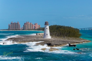 Nassau has a very interesting lighthouse, especially if you see it from this angle. Bahamas, Caribbean.