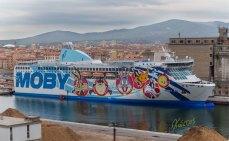 Colorfull cartoon ship graffiti. Livorno, Italy
