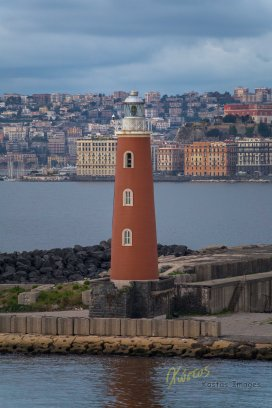 Red Lighthouse, morning light. Napoli, Italy