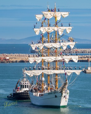 ARM Cuauhtémoc Mexican Navy Training Ship entering port. Civitavecchia, Italy
