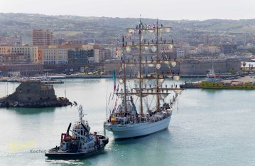 ARM Cuauhtémoc Mexican Navy Training Ship entering port in morning light. Civitavecchia, Italy
