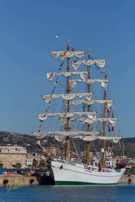 ARM Cuauhtémoc Mexican Navy Training Ship docked at port. Civitavecchia, Italy