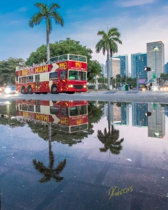 Miami downtown after rain street photography. Time for reflections…