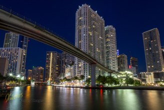 Miami River and bridge long exposure