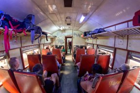 Inside the train to Pinnawala. This is the second class.