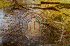 Dambulla cave temple painting on the ceiling. The artists were following all the natural formations of the rock, really amazing.