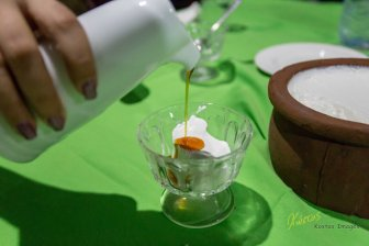 Popular dessert in Sri Lanka: Buffalo milk Yogurt with syrup from coconut blossoms
