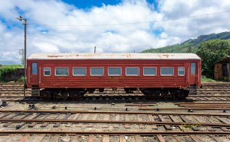 An abandoned (or just standing by) typical train wagon at the Nanu Oya Station, Nuwara Eliya, Sri Lanka