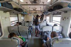 Inside view of the train, notice the fans on the ceiling, no Air Condition. 2nd Class Train from Nanu Oya to Ella