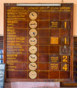 Totally handmade / analog display. Interesting way to make a time table. Railway station, Galle, Sri Lanka.