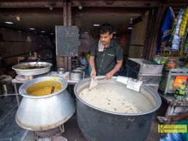Mumbai Street Food. Huge pots with Dal and Rice ready to be served.