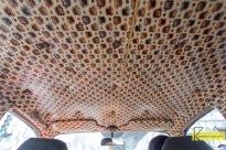 Interesting Apple and fake snake skin decoration inside the taxi. Mumbai.