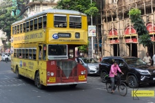 Double deck Bus and a Bicycle in Mumbai