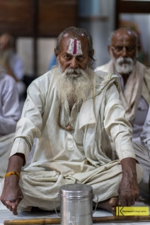 Sitting in meditation pose inside a Hindu temple, Mumbai, India.