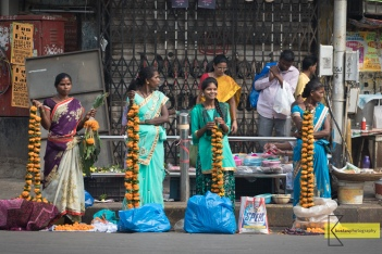 Selling flowers for the Diwali, Mumbai