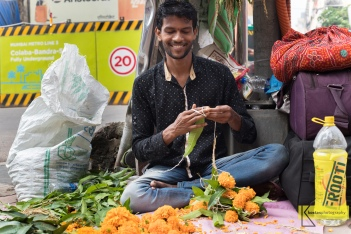 Diwali festival flower preparation, Mumbai