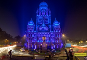 Took me a while to find the spot and set up the camera. Long exposure of this iconic building lit by blue color in Mumbai, India.