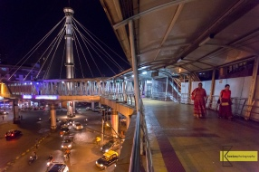Pedestrian Bridge in Mumbai. My dear friend Albana (walking with my wife) had extra patience for this photo.