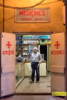 Local Pharmacist in city of Jaipur. My favorite part: he is barefoot. I really like that, since I enjoy being barefood myself.
