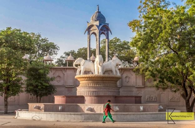 Walking lady in Jawahar Circle park, Jaipur.