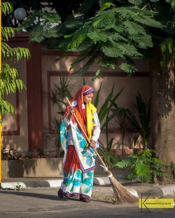 Portrait of a lady cleaning the street (she is for real, not posing) in a colourful Saree, Jaipur, India.