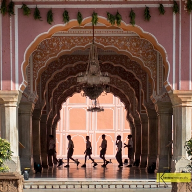 Students visiting the Pink Palace, Jaipur, India.