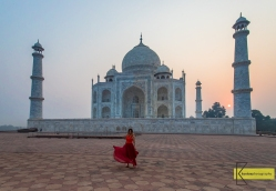 Taj Mahal in Sunrise. The iconic building is always busy with thousands of visitors, except early in the morning, really early.