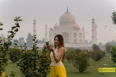 Mehtab Bagh gardens give a different view of Taj Mahal.