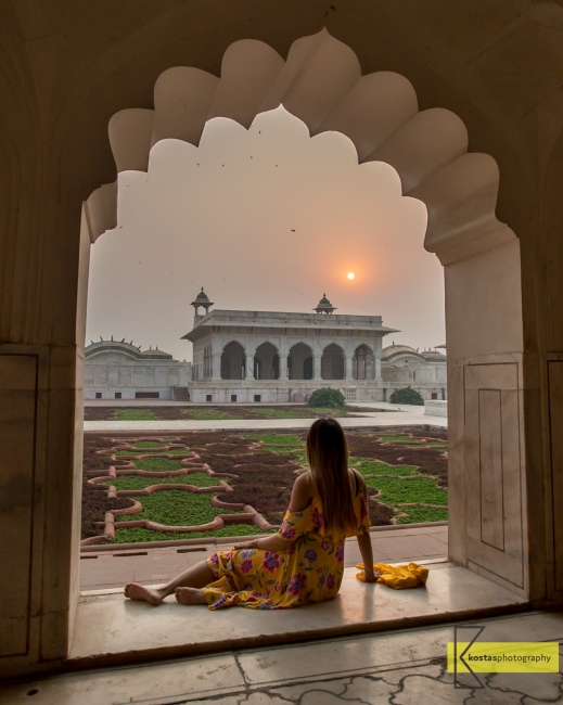 Inside Agra Fort there are numerous locations for photography, this is one of my favorite pictures, in front of the garden during sunrise. Not manuy tourists around, most of them go to Taj Mahal early. Agra, India.