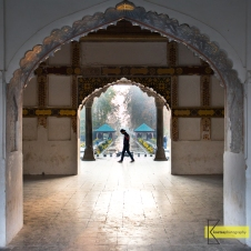 Silhouette portrait in the afternoon light, from Shalimar Bagh in Kashmir
