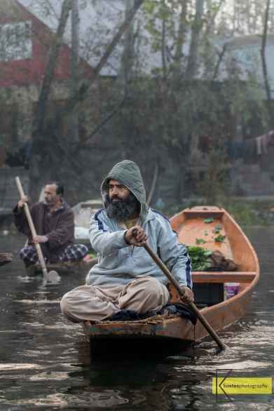 A vegetable seller approaching the Floating Market in Lake Dal, Kashmir