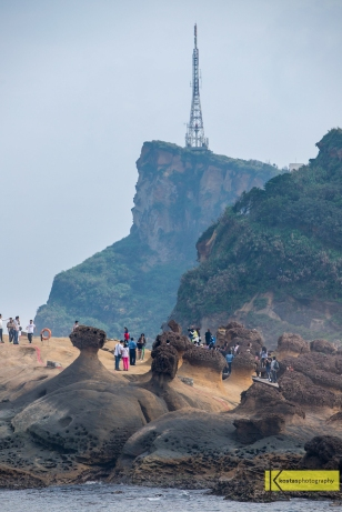 Rock formations in Yehliu Geopark. The site is attracting a lot of tourists every day. We found it a nice location for an excursion and a walk in nature.