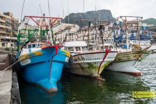 Fishing boats docked at Yehliu Port in Taiwan.