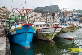 Fishing boats docked at Yehliu Port in Taiwan.